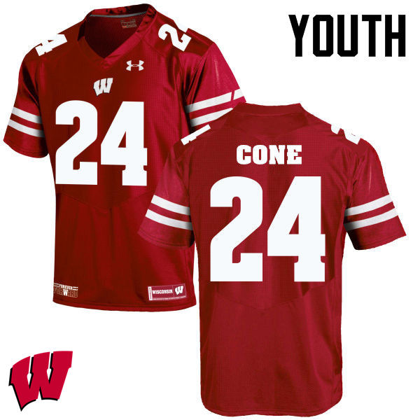 Youth Winsconsin Badgers #24 Madison Cone College Football Jerseys-Red